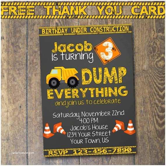 construction birthday invitation dump