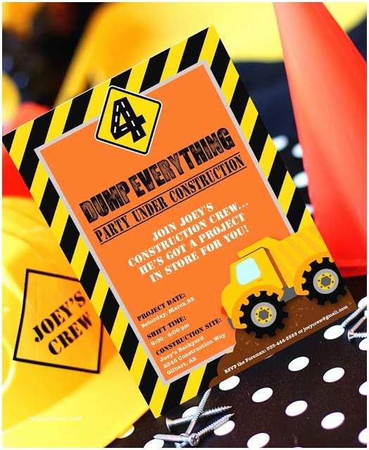 Construction Birthday Party Invitations Amanda S Parties to Go Construction Party
