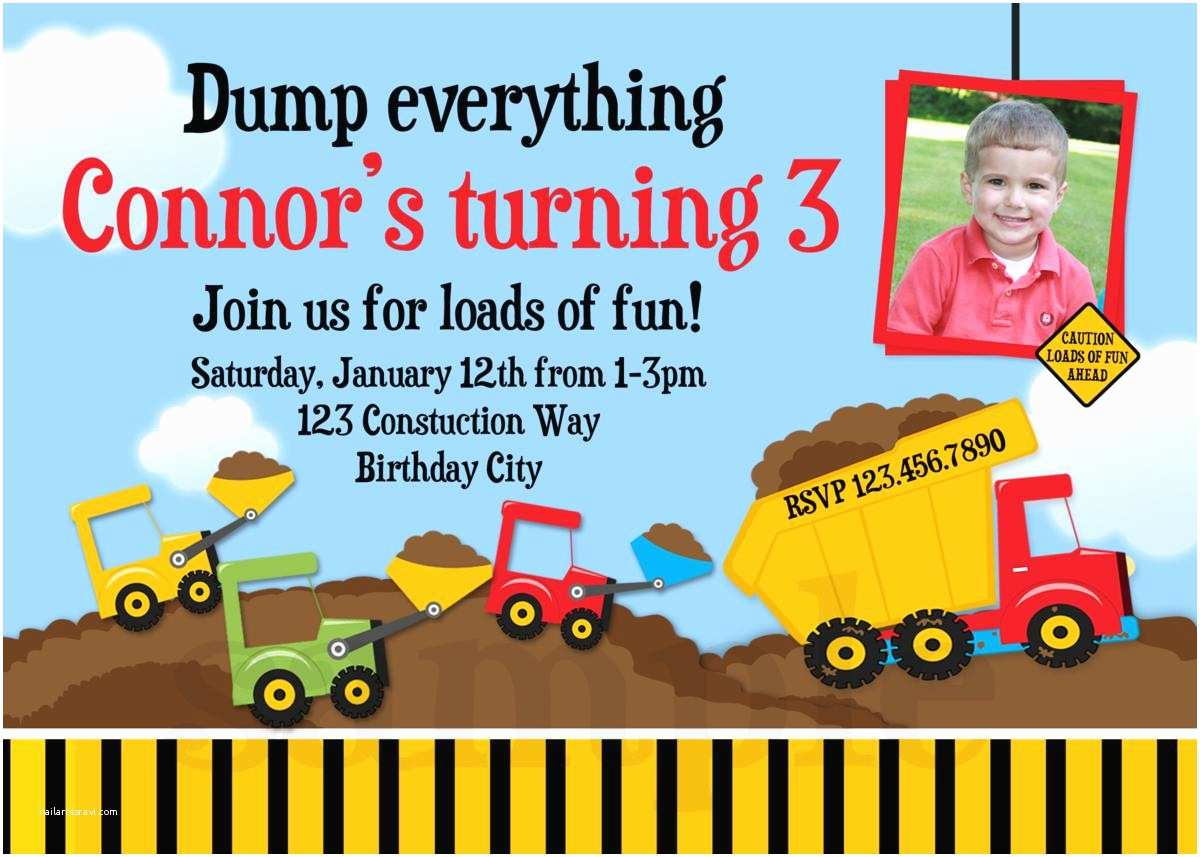 Construction Birthday Party Invitations Construction Birthday Invitations Dump Truck Birthday