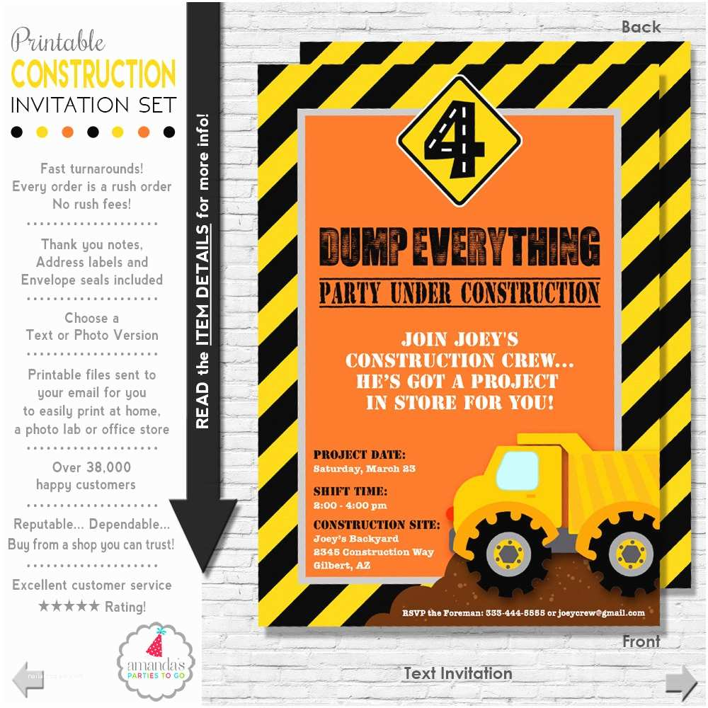 Construction Birthday Party Invitations Construction Party Invitation Construction Birthday
