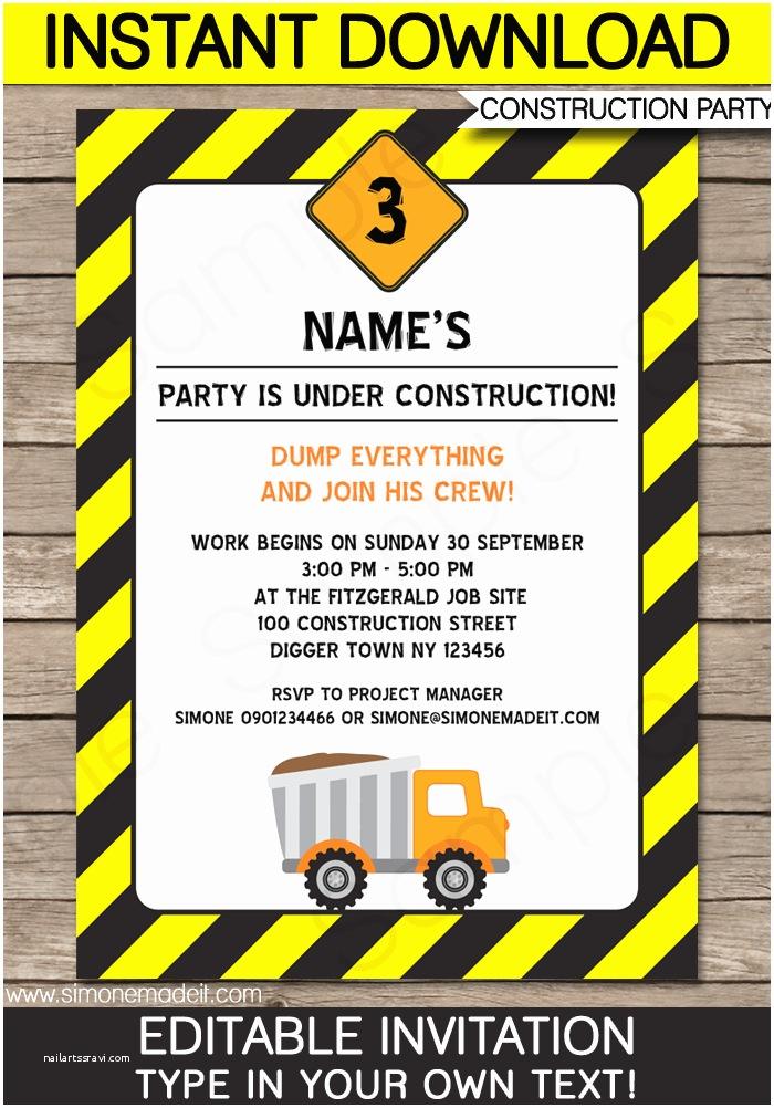 Construction Birthday Party Invitations Construction Party Invitations Template