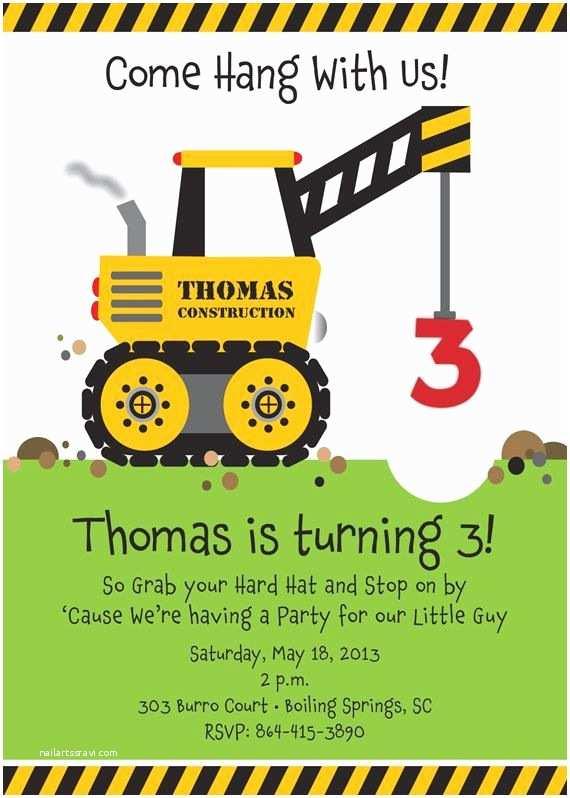 Construction Birthday Party Invitations Crane Construction Truck Birthday Party Invitation E