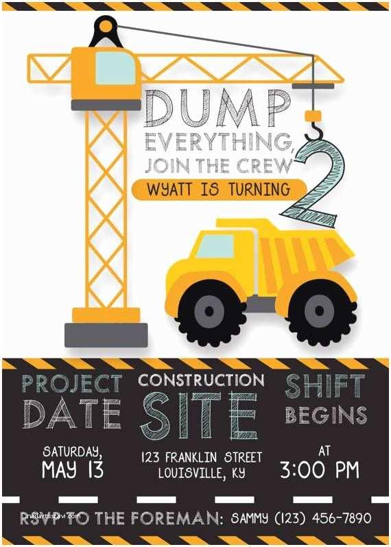 Construction Birthday Party Invitations Printable Construction Birthday Invitation