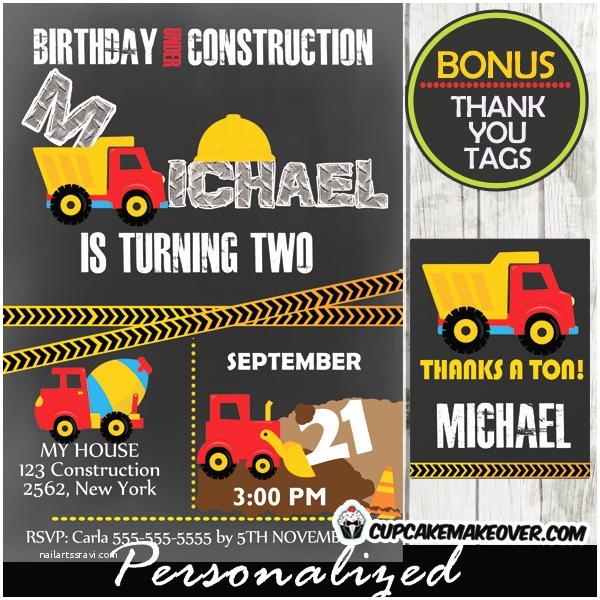 Construction Birthday Party Invitations Under Construction Birthday Invitation – D7 Cupcakemakeover