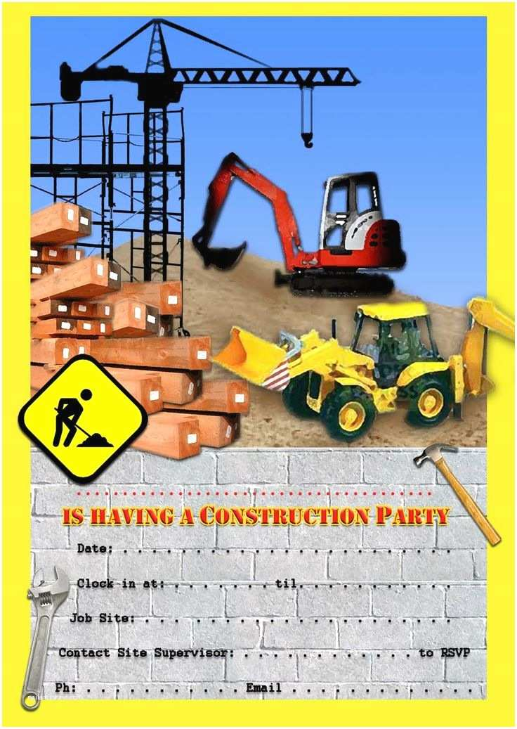 Construction Party Invitations 1000 Ideas About Construction Party Invitations On