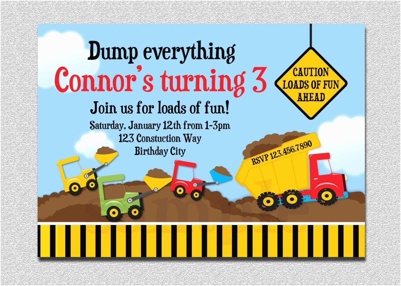 Construction Party Invitations Construction Birthday Invitation Boys Truck Birthday Party