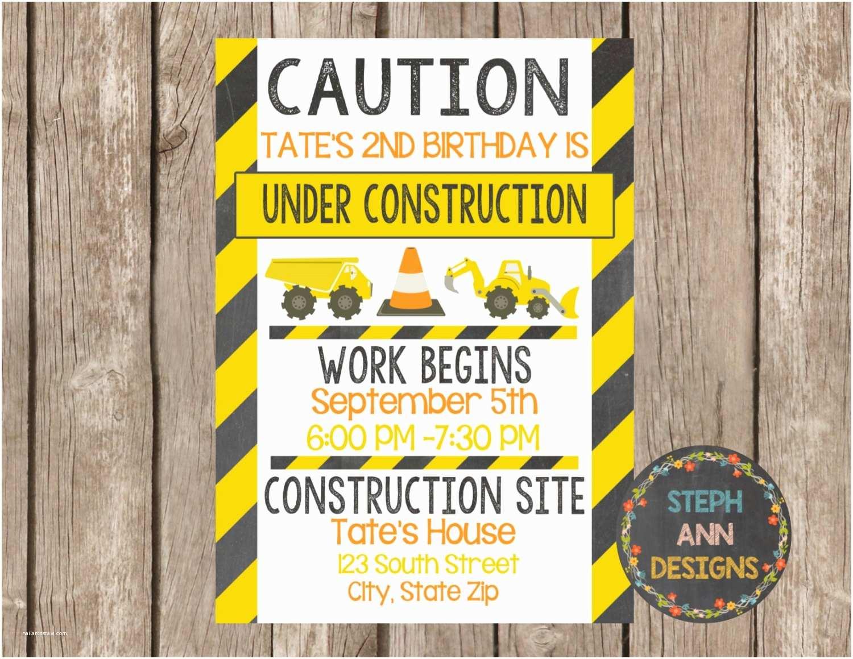 Construction Party Invitations Construction Birthday Invitation Digital File
