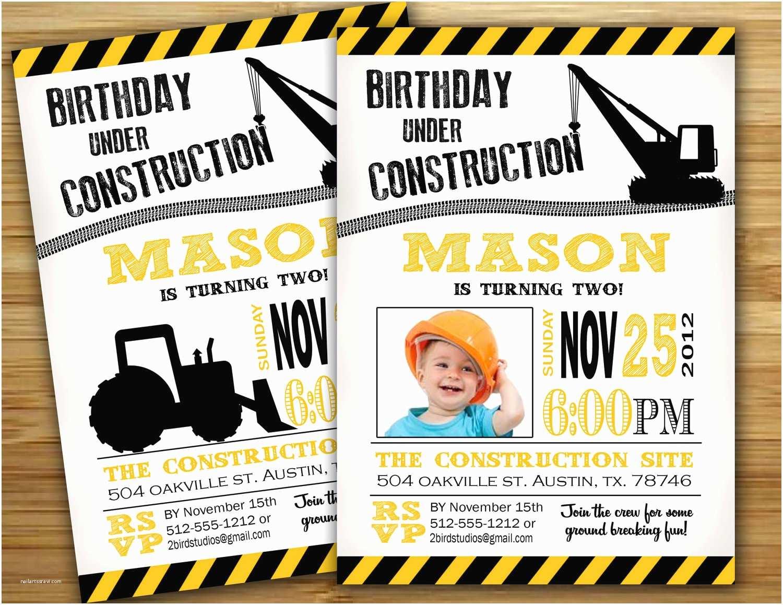 Construction Party Invitations Construction Birthday Party Invitation Invite