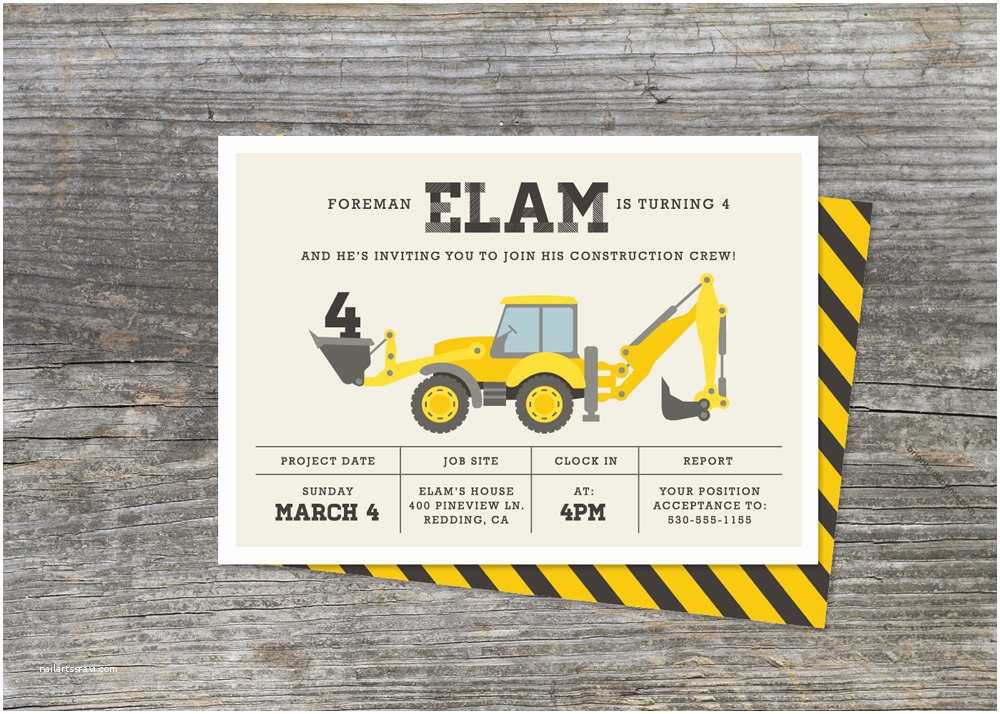Construction Party Invitations Construction Birthday Party Invitations