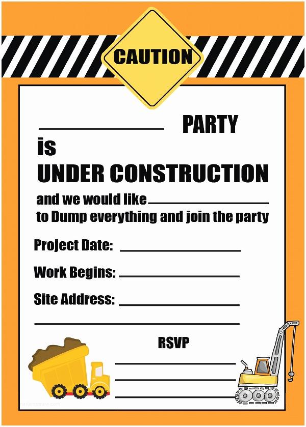 Construction Party Invitations Construction Party Invitation