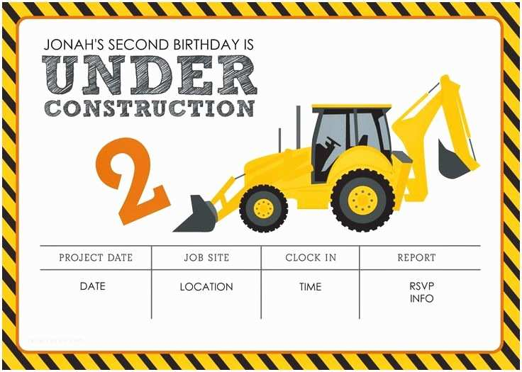 Construction Party Invitations Construction themed Birthday Party Free Printables