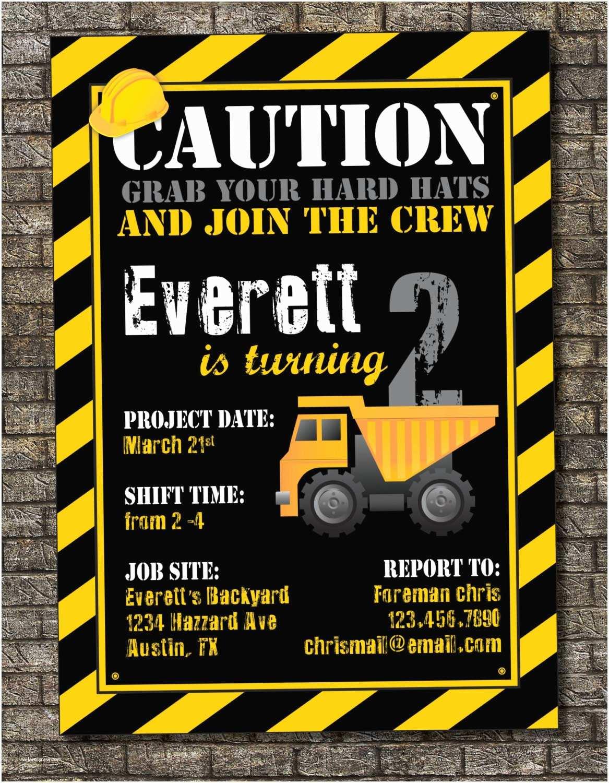 Construction Party Invitations Construction Zone Birthday Invitation By