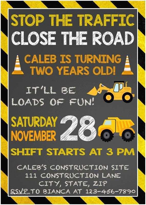 Construction Party Invitations Dump Truck  Invitation Construction