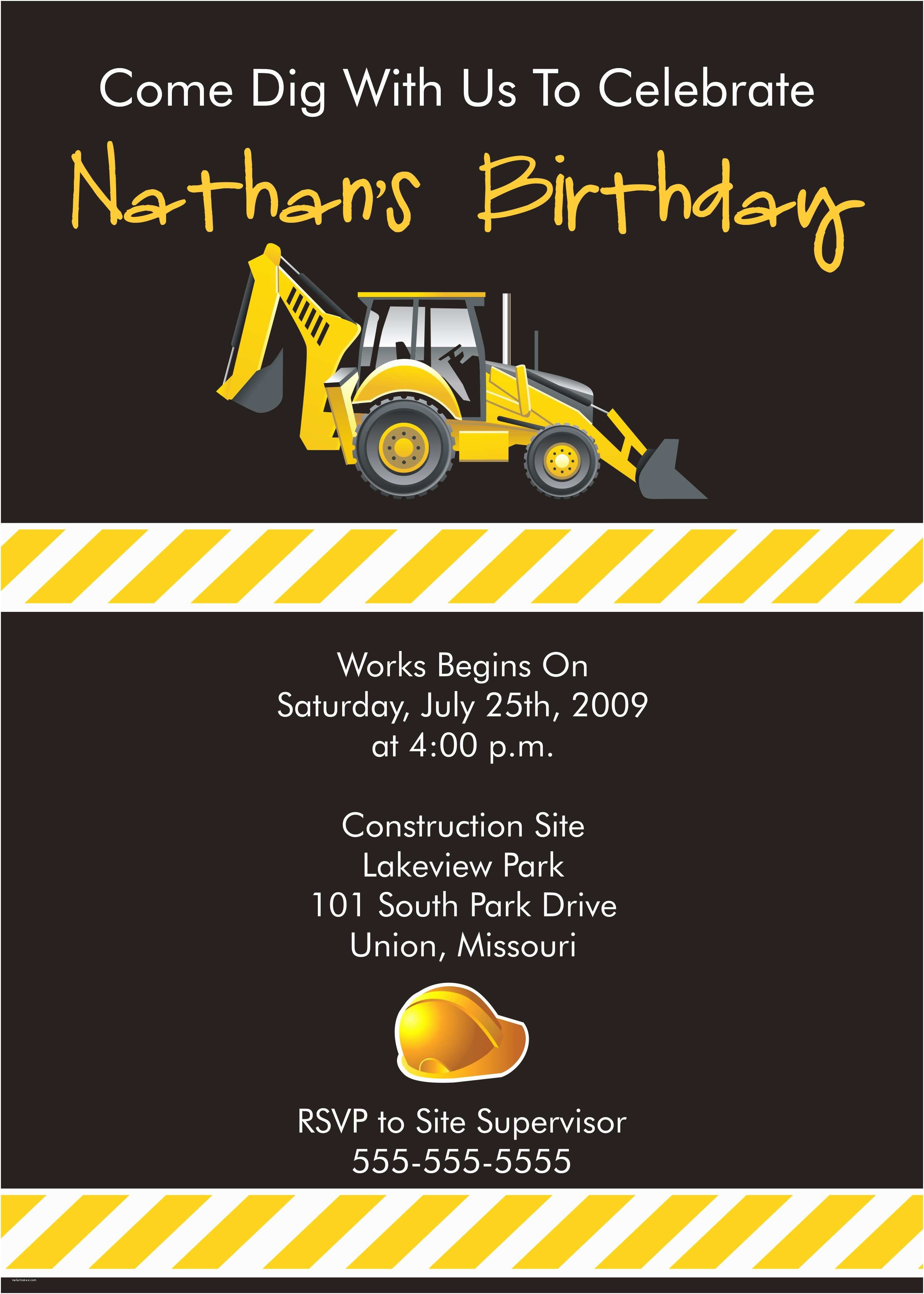 Construction Party Invitations Invitations For Every