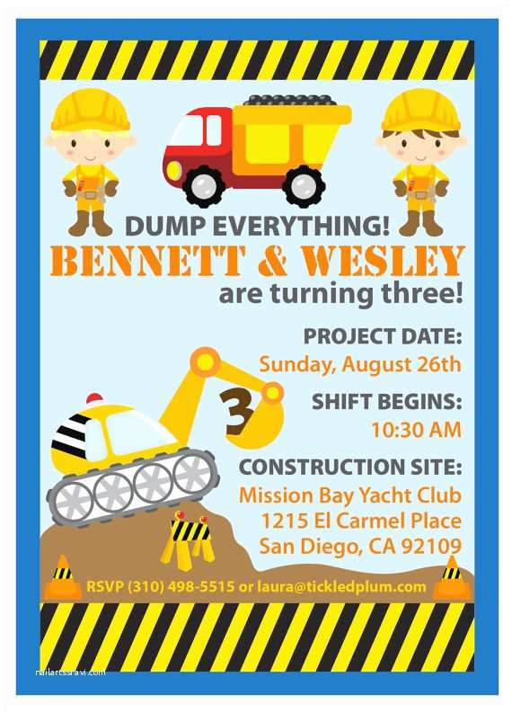 Construction  Invitations Items Similar To Dump Everything Construction