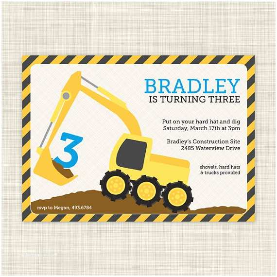 Construction Party Invitations Penned Hello Personalized Note Cards Thank You