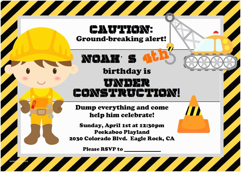 Construction Party Invitations Under Construction Party Lynlee S