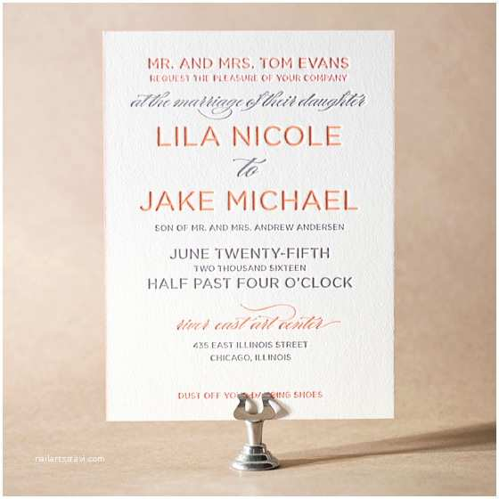 Contemporary Wedding Invitation Wording Vintageprinting