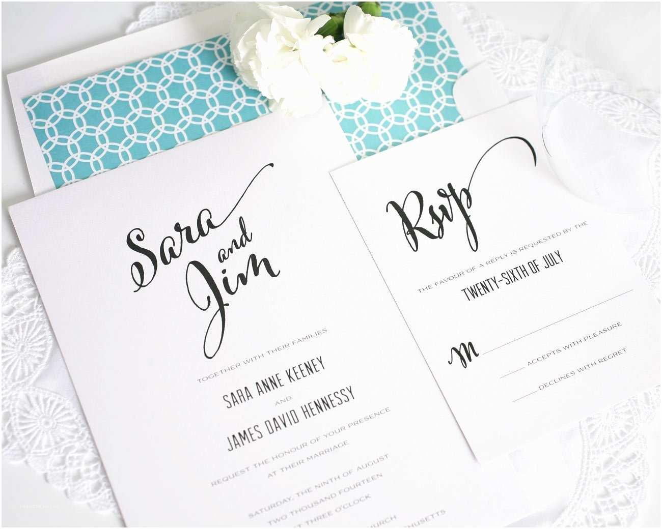 Contemporary Wedding Invitations Modern Script Wedding Invitations In Aqua – Wedding