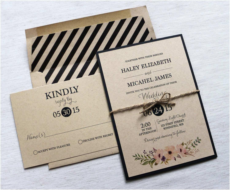 Contemporary Wedding Invitations Modern Wedding Invitation Kraft Wedding Invitation Rustic