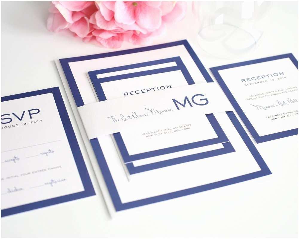 Contemporary Wedding Invitations Modern Wedding Invitations In Blue with Monogram – Wedding
