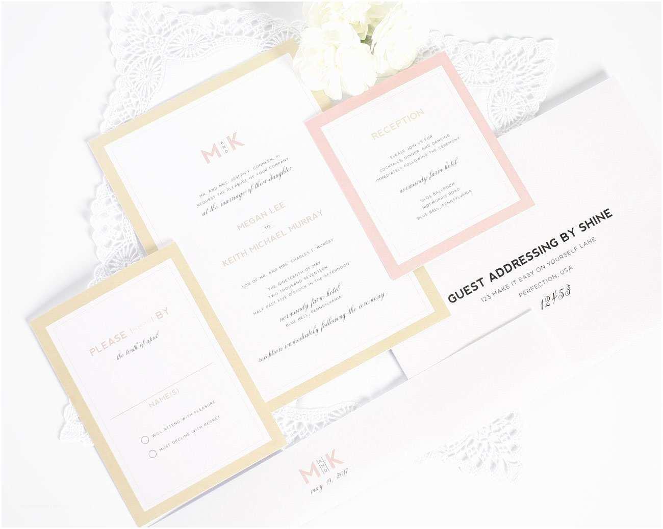 Contemporary Wedding Invitations Modern Wedding Invitations In Blush and Gold – Wedding
