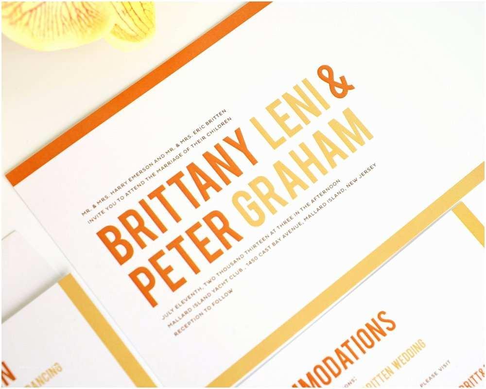 Contemporary Wedding Invitations orange Modern Wedding Invitations with Stripes – Wedding