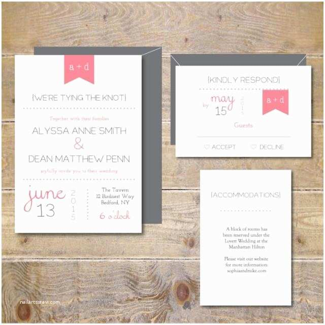 Contemporary Wedding Invitations Pennant Wedding Invitations Wedding Invites Modern