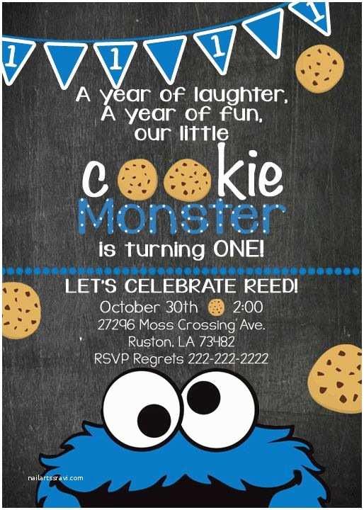 Cookie Monster Birthday Invitations 71 Best Invites Images On Pinterest