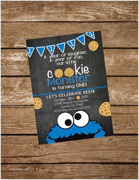 Cookie Monster Birthday Invitations Cookie Monster Birthday Invite Cookie Monster Invitation