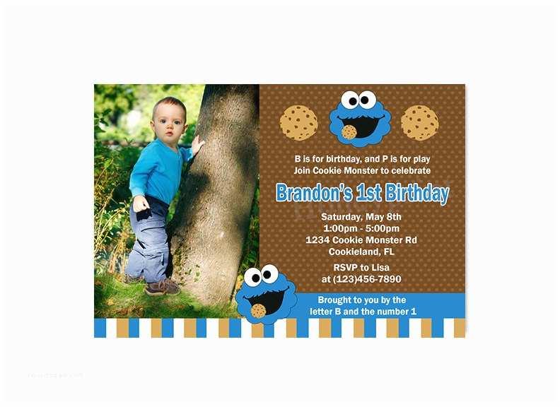 Cookie Monster Birthday Invitations Cookie Monster Birthday Party Invitation Cookie Monster