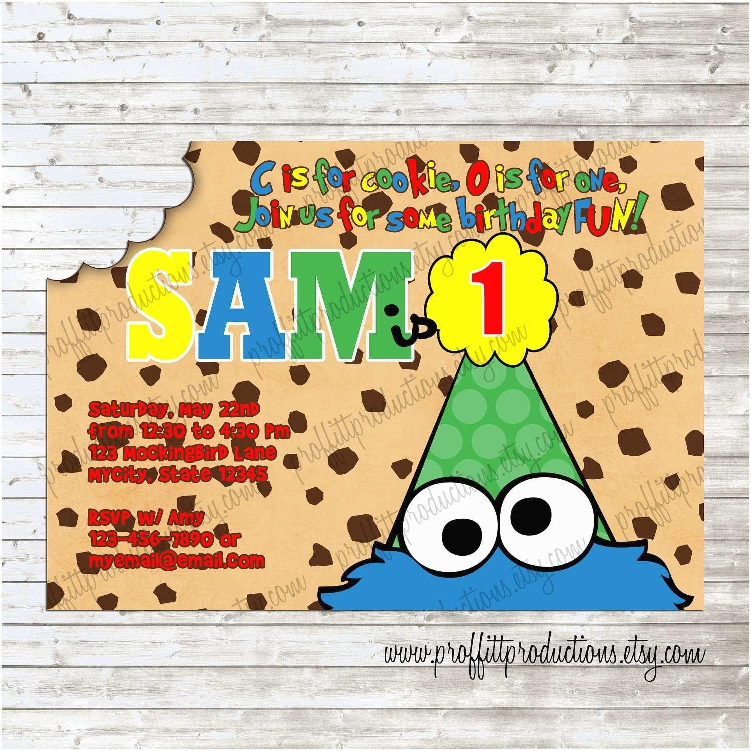 cookie monster birthday party invitation
