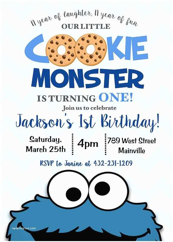 Cookie Monster Birthday Invitations First