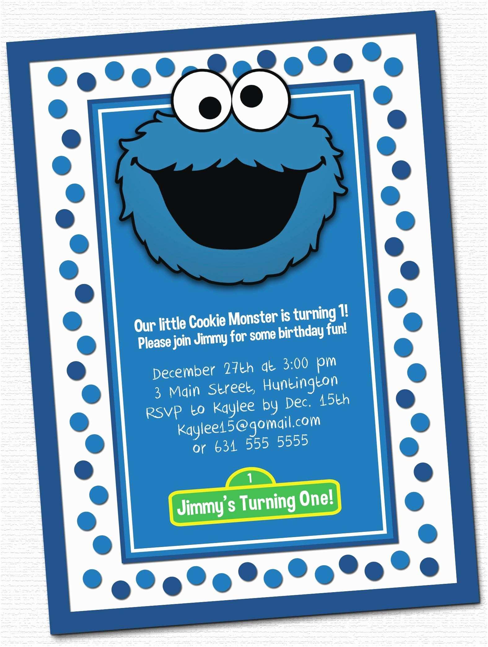 Cookie Monster Birthday Invitations Cookie Monster Invitations Little Rj