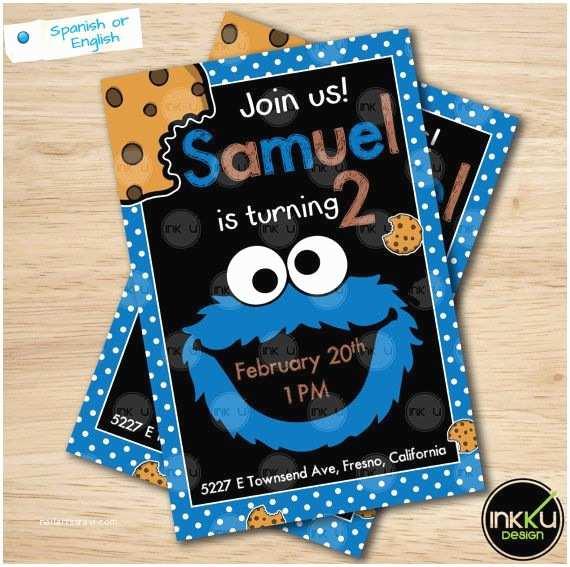 Cookie Monster Birthday Invitations Cookie Monster Invite Cookie Monster Invitation by