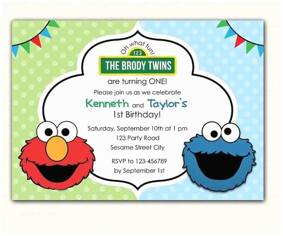 Cookie Monster Birthday Invitations Elmo and Cookie Monster Birthday Invitation Printable