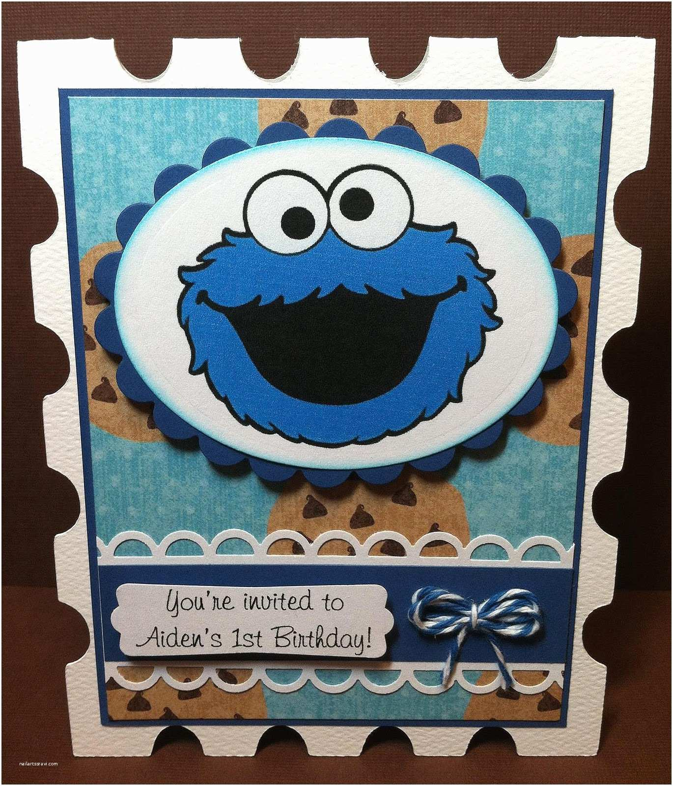 Cookie Monster Birthday Invitations Paper Crafts by Candace Hello Kitty & Cookie Monster