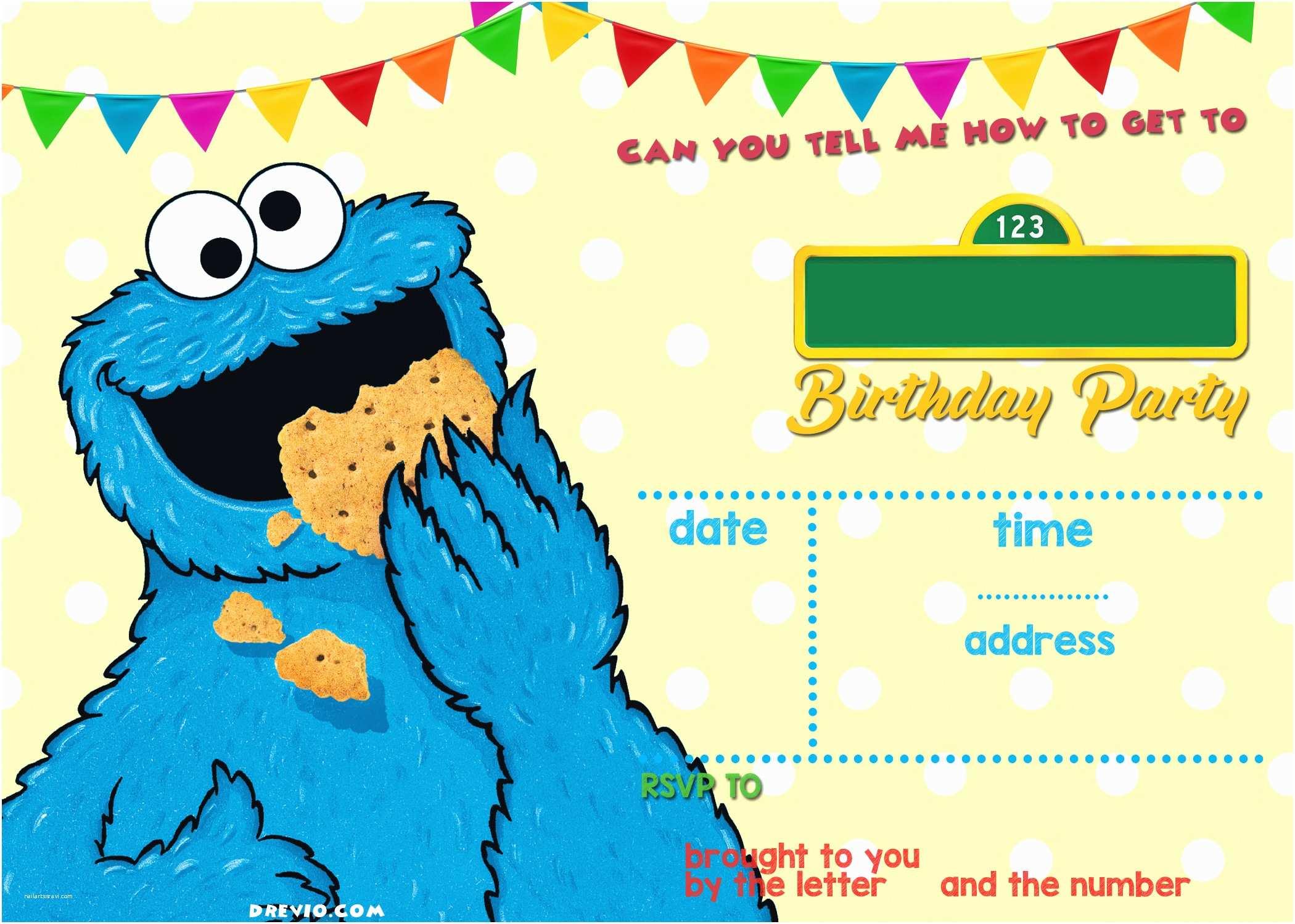 Cookie Monster Birthday Invitations Sesame Street Birthday Invitations Line