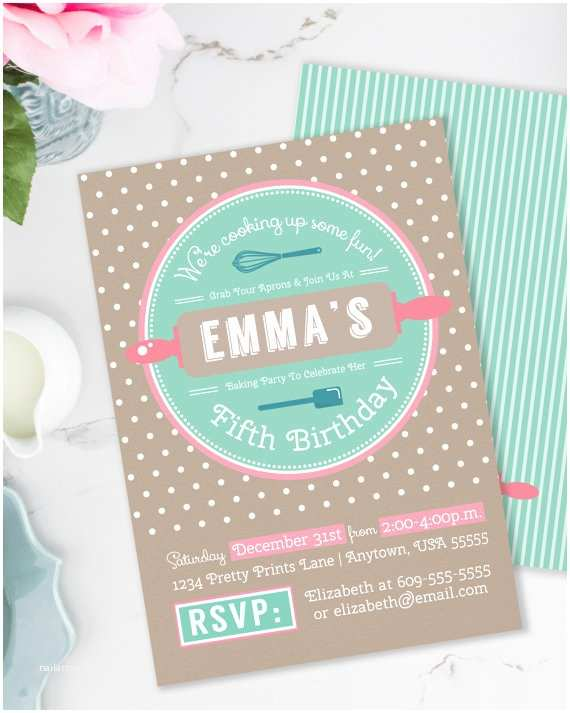 Cooking Party Invitations Baking Birthday Party Baking Party Invitation Girls