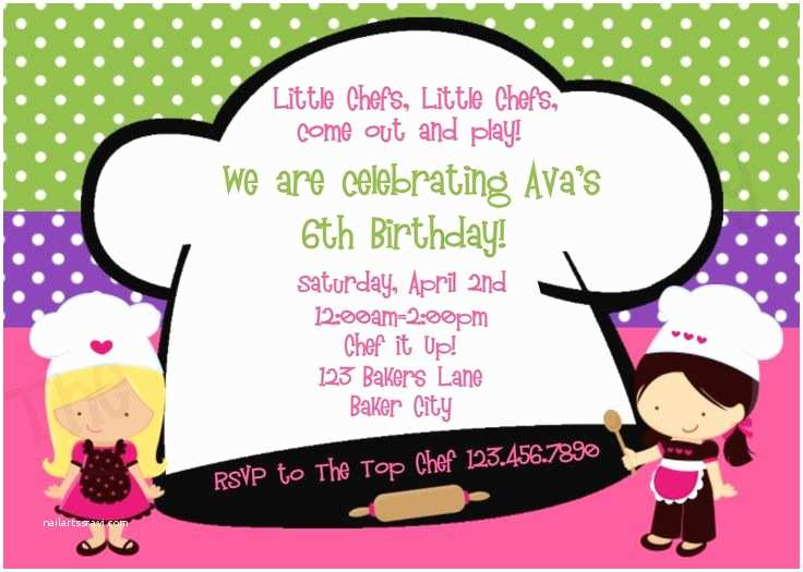 Cooking Party Invitations Chef Cooking Birthday Party Invitation Cooking Party