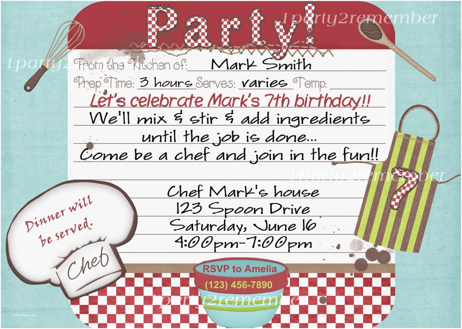 Cooking Party Invitations Chef Cooking Party Digital Party Invitation for Girl or Boy