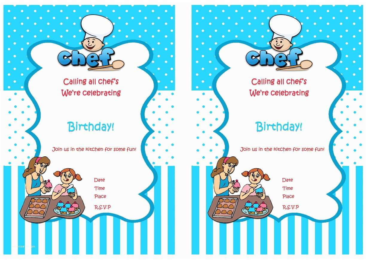 Cooking Party Invitations Cooking and Baking Birthday Invitations – Birthday Printable