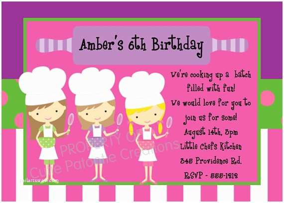 Cooking Party Invitations Cooking Birthday Invitation Printable Or Printed