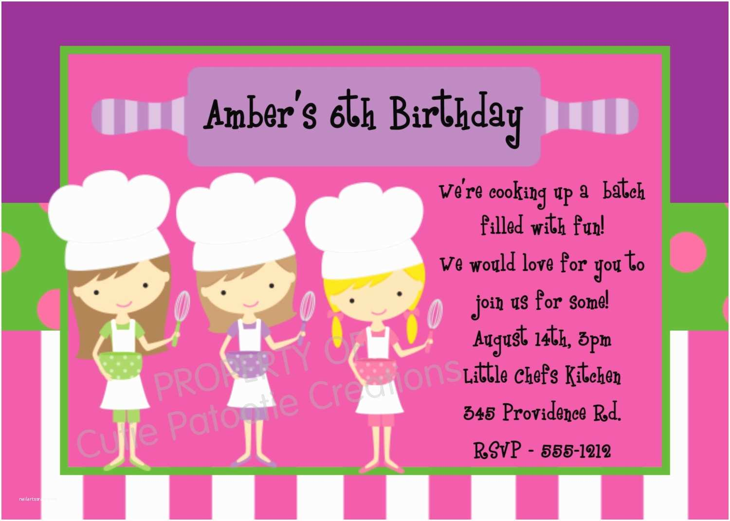 Cooking Party Invitations Cooking Birthday Invitation Printable or Printed Chef