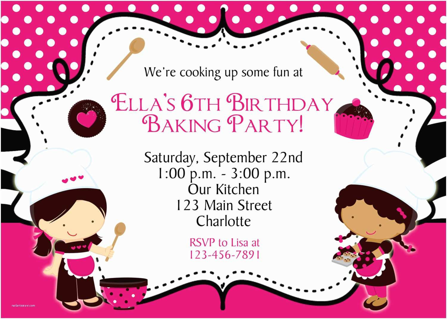 Cooking Party Invitations Cooking Birthday Party Invitation Baking by thebutterflypress