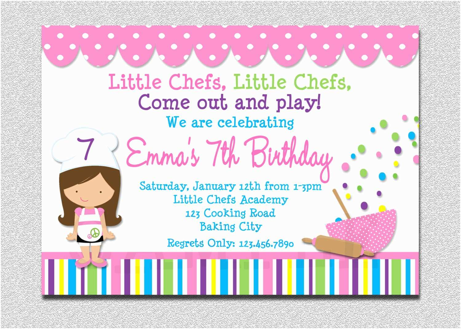 Cooking Party Invitations Cooking Birthday Party Invitation Cooking Baking Birthday