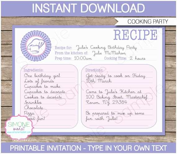 Cooking Party Invitations Cooking Invitation Template Recipe Card Birthday Party