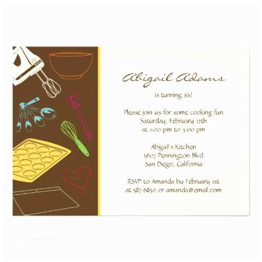"Cooking Party Invitations Cooking Party Birthday Party Invitation 5"" X 7"