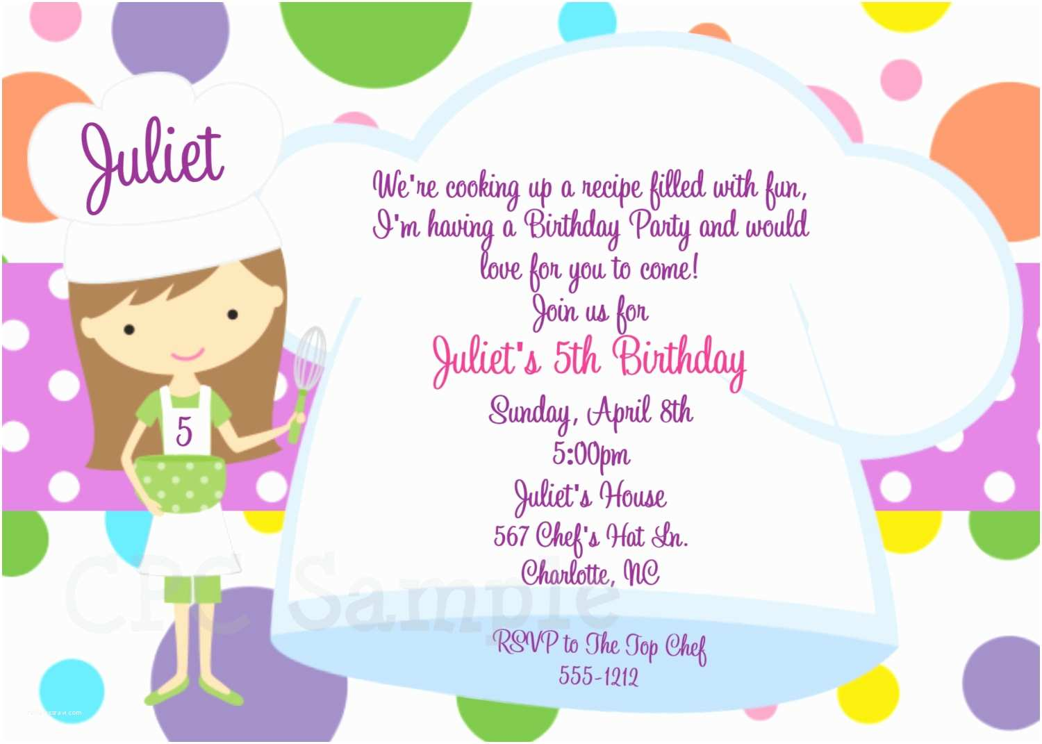 Cooking Party Invitations Cooking Party Invitation Baking Birthday Invitations