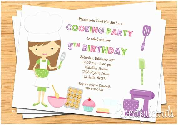 Cooking Party Invitations Kids Baking Birthday Party Invitation Printable